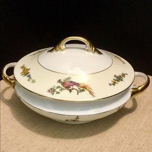 Czech Bohemia Pheasant Covered Serving Bowl